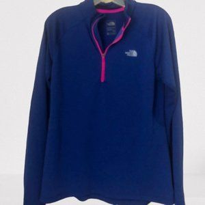 North Face 1/4 Zip Pullover L Flash Dry Blue/Pink